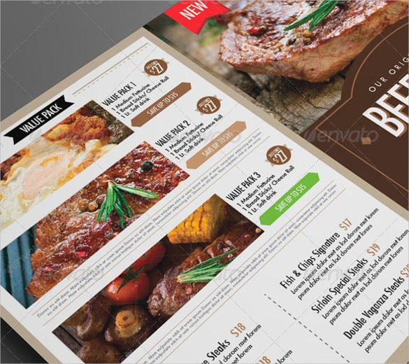 example amazing dinner menu template download