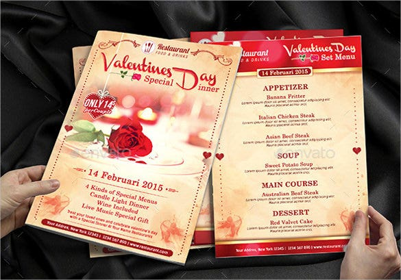 example valentines menu special dinner promotion template