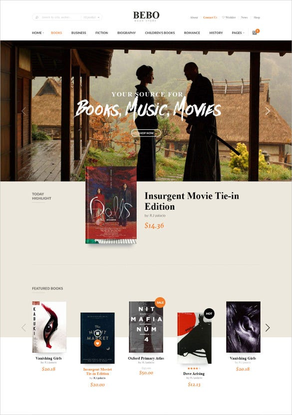 book store library wp website template