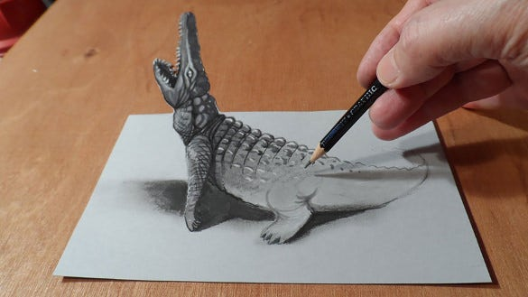 crocodile 3d drawing