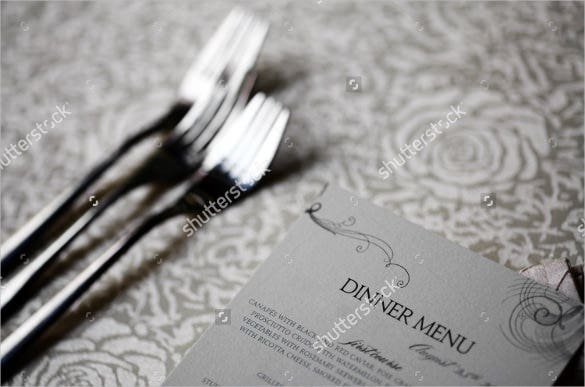 example dinner menu on a table template