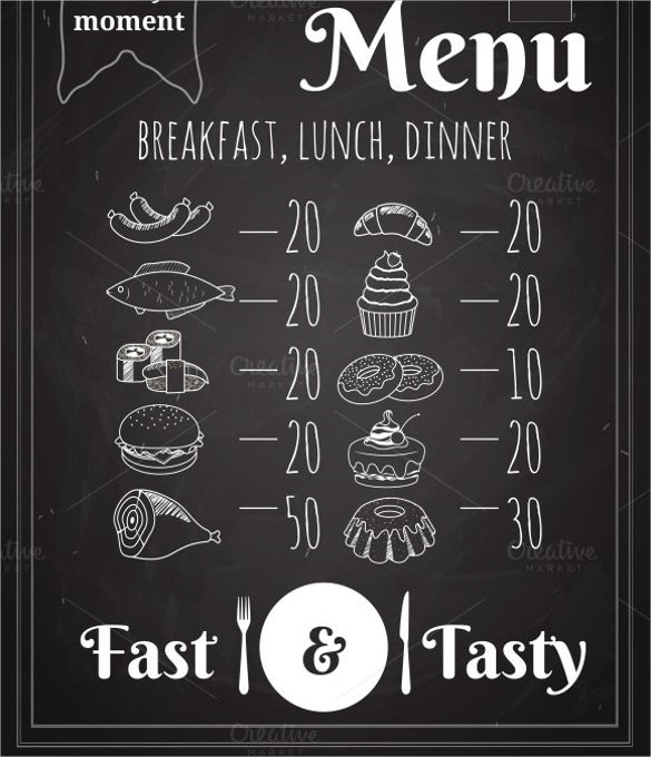 dinner menu vector format template download
