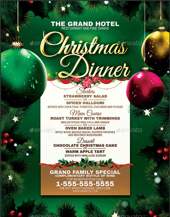 christmas dinner menu ai illustrator format template download