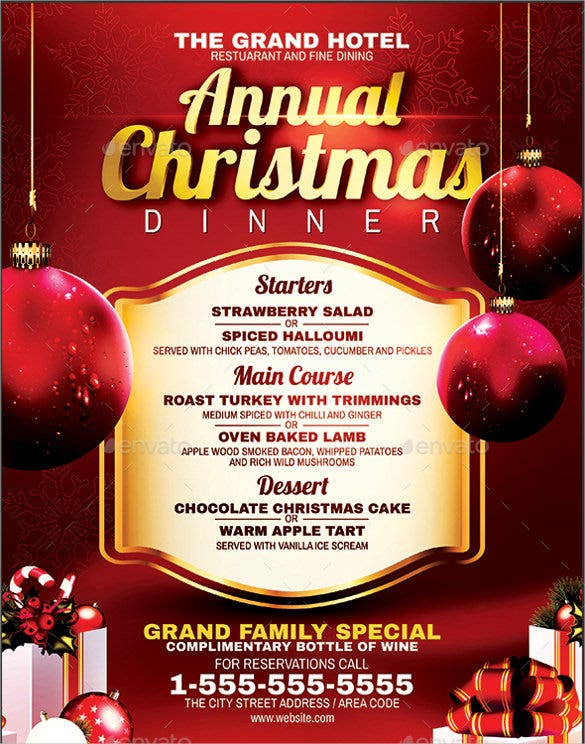 christmas dinner menu vector eps format template download