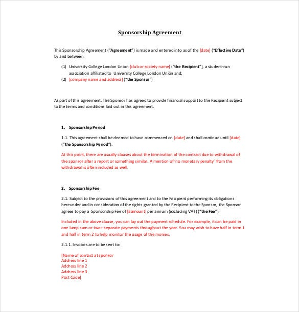 example sponsorship agreement template