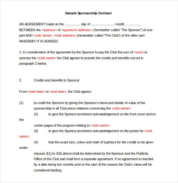 Sponsorship Agreement Template | 15 Sponsorship Agreement Templates Free Sample Example Format