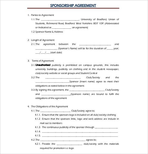Superior Free Example Sponsorship Agreement Template Download To Event Sponsorship Agreement Template