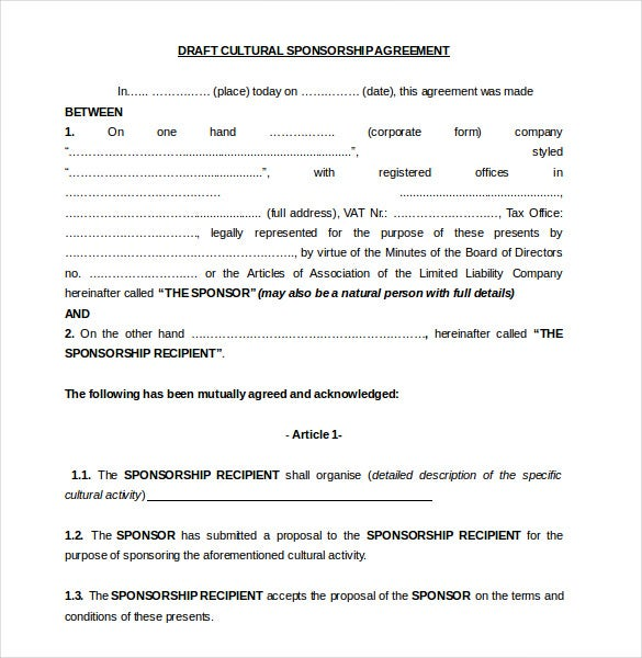 15 Sponsorship Agreement Templates Free Sample Example Format – Sponsorship Agreement Template
