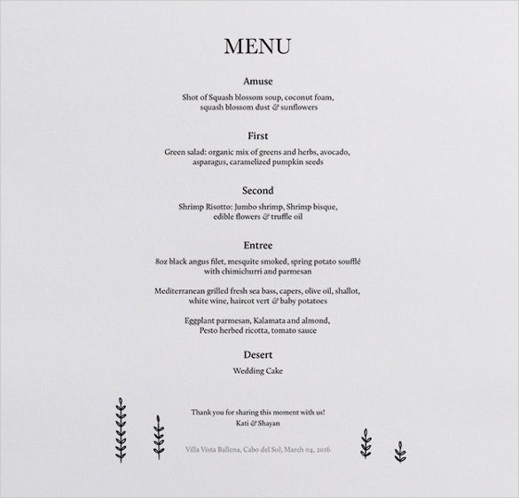 sample dinner menu template1