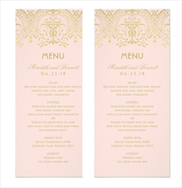 gold vintage glam wedding dinner menu card template sample download