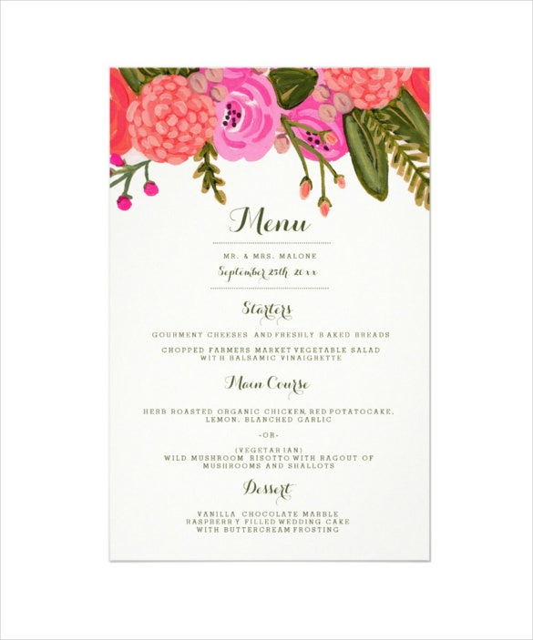 sample vintage garden wedding dinner menu template download