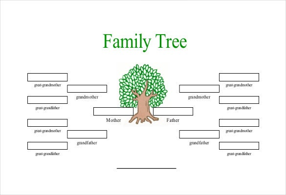 Simple family tree template 25 free word excel pdf for How to draw a family tree template