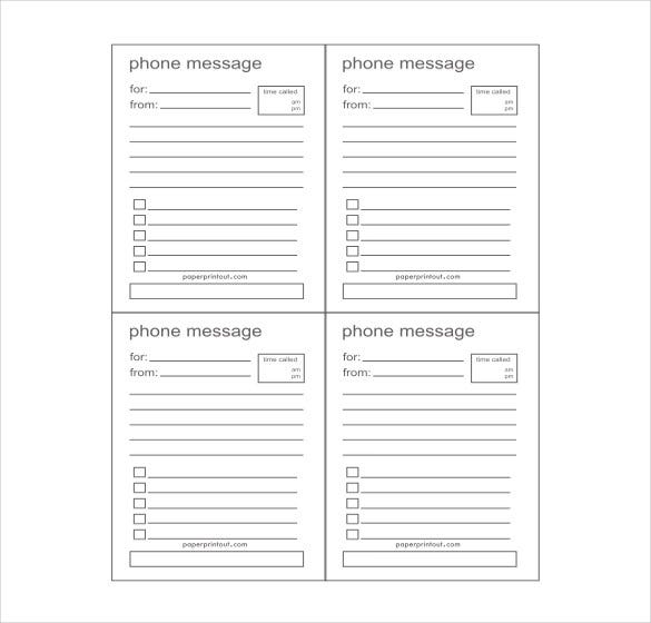 Phone Message Template   Free Word Excel Pdf Documents