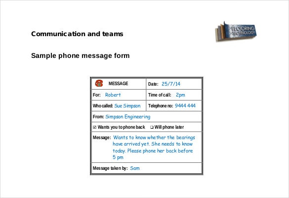 Message Template | Free PDF Phone Message Form Template