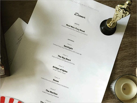 sample oscars dinner menu template download