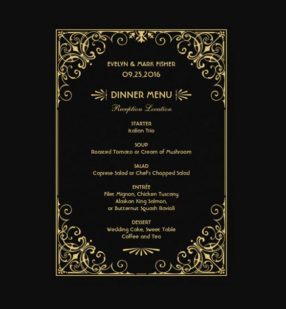 wedding dinner menu card sample download
