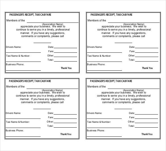 Taxi Receipt Template   Free Word Excel Pdf Format Download