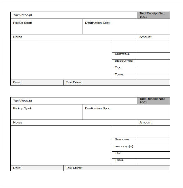 Taxi Receipt Template - 12+ Free Word, Excel, Pdf Format Download