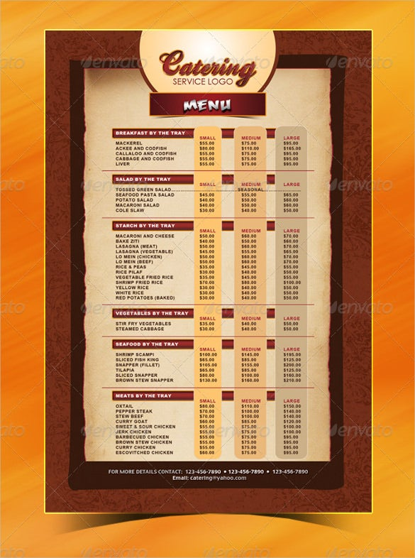 catering menu template psd format download