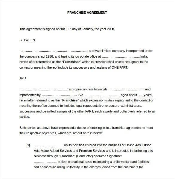 Franchise Agreement Templates  Free Sample Example Format