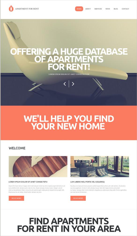 real estate rental services wordpress theme