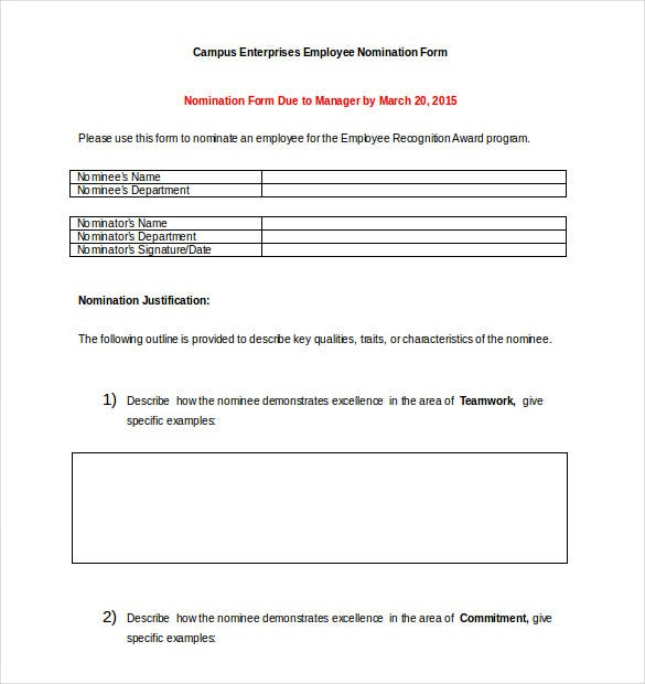 Employee Recognition Award Nomination Form Word Format