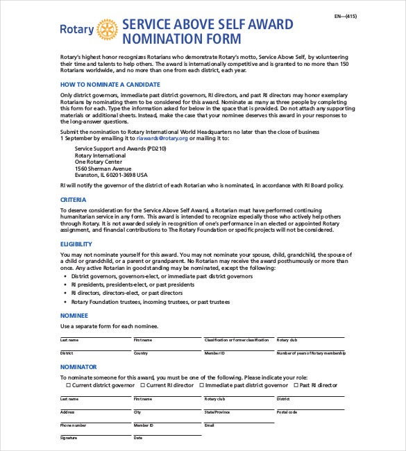 volunteer award nomination letter samples