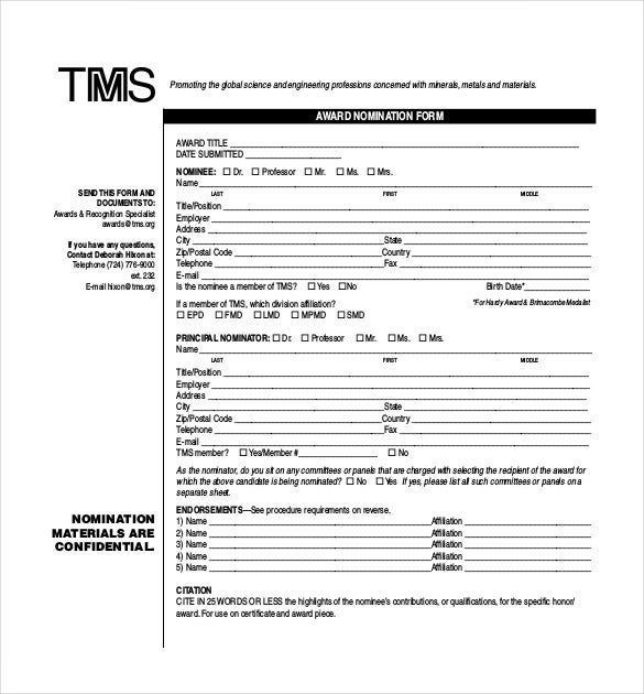 Award Nomination Form Template   12+ Free Word, PDF Documents