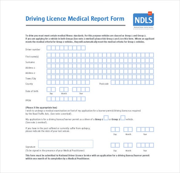 Driving Licence Medical Report Form Free PDF