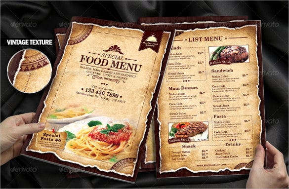 example special food menu template download