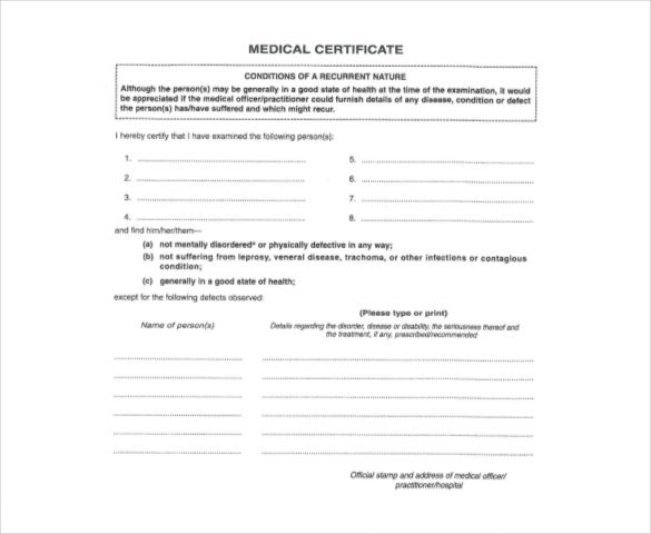 Medical report template 9 free word pdf documents download free medical certificate template pdf format yadclub Images