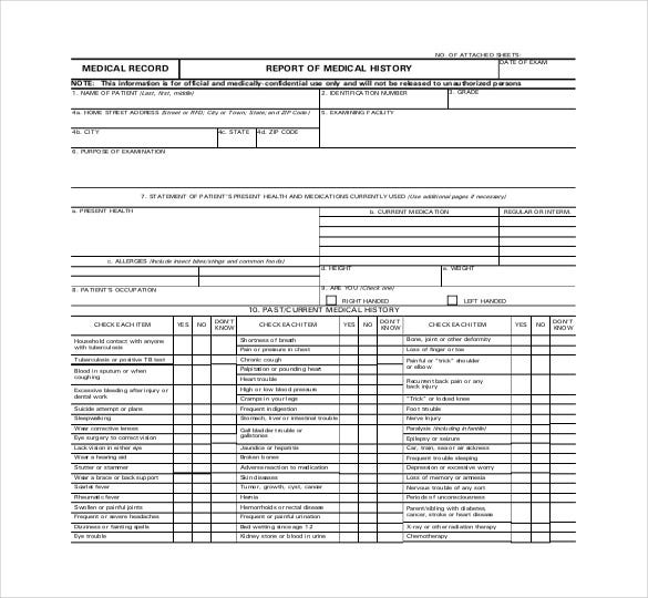 Medical Report Free Download PDF Template