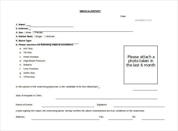 Free Doc Format Medical Report Template