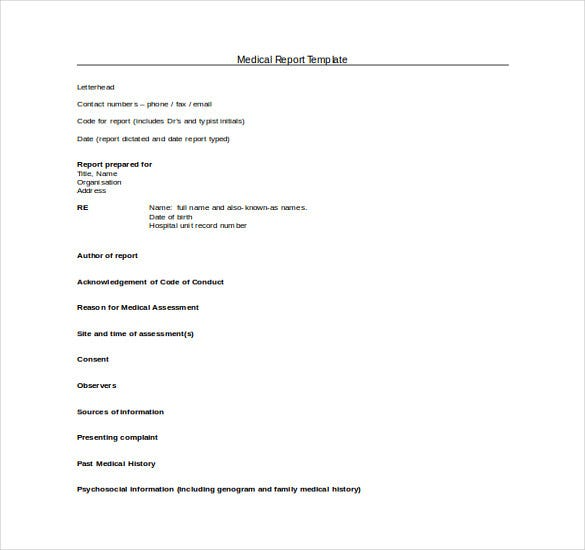 Medical Report Template Free Doc Format