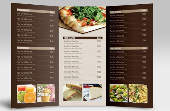 tri fold catering menu card template sample download