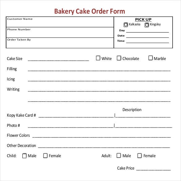 Universal image in cake order forms printable