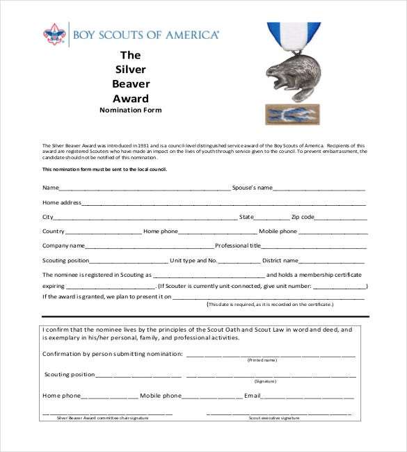 the silver beaver award nomination form