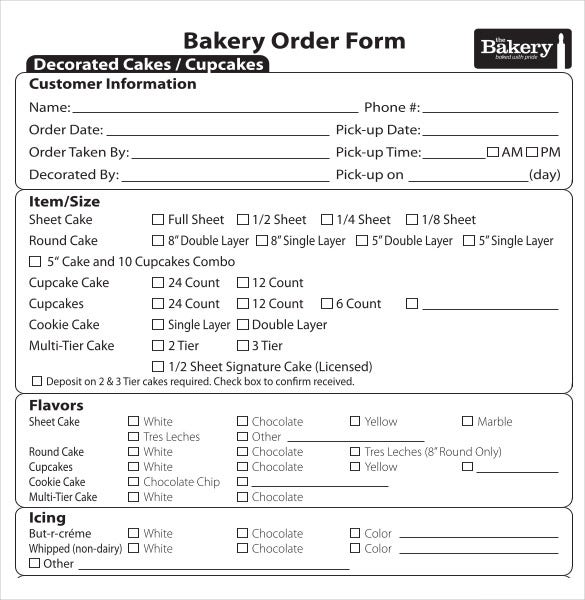 Bakery Order Template   Free Excel Pdf Documents Download