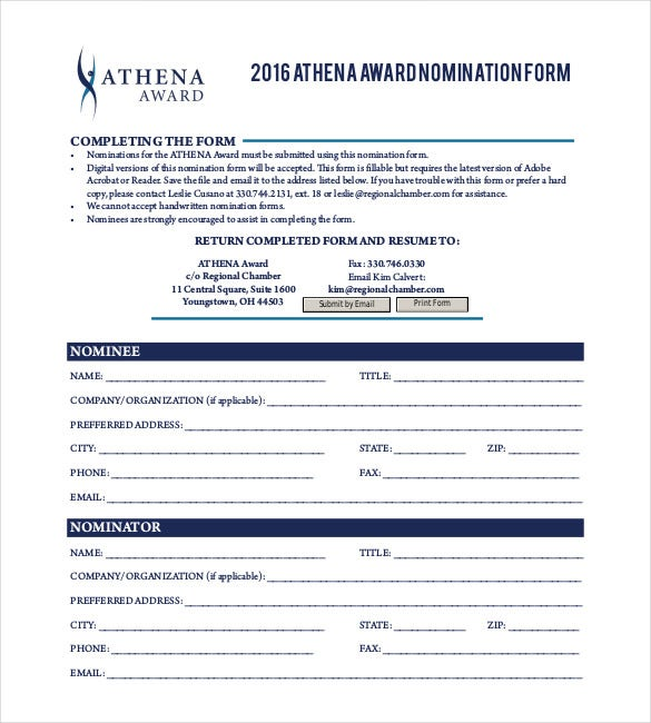 free athena award nomination form pdf