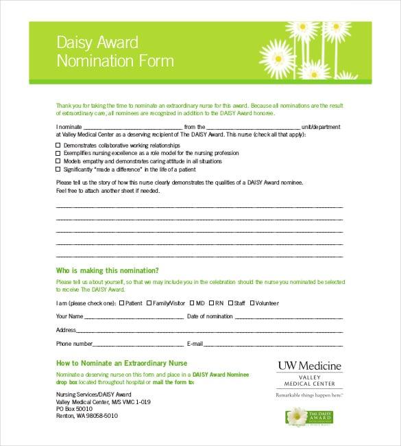 daisy award nomination form