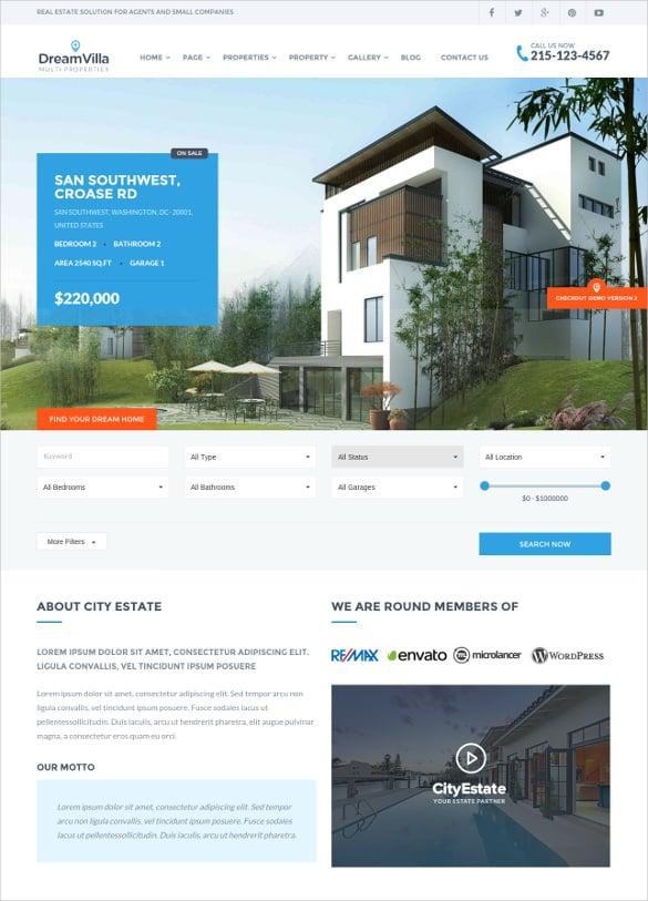 luxury villa real estate wordpress theme