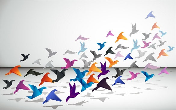 birds paper art design