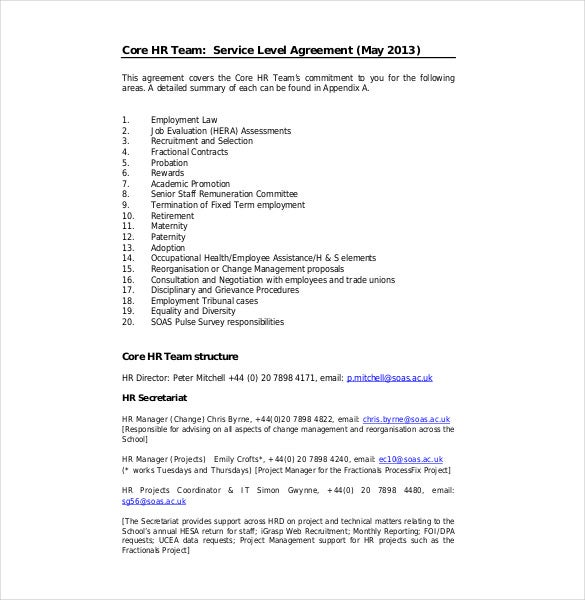 Service Level Agreement Template Payroll Service Level