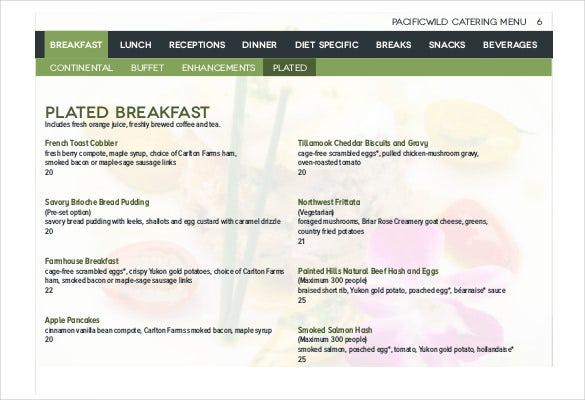 pacificwild catering menu pdf format download