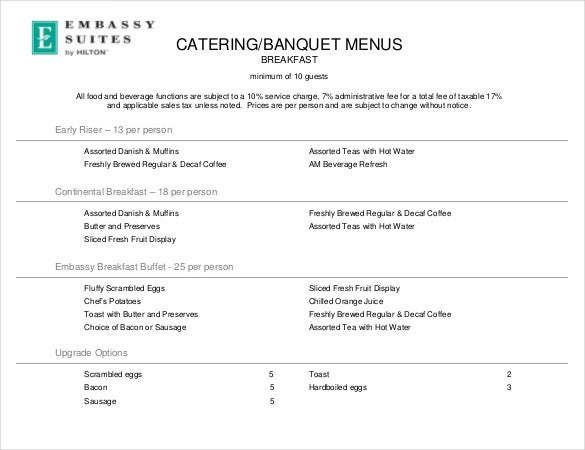 format of pdf catering banquet menu template download