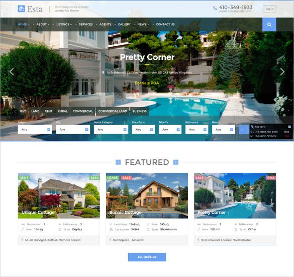 pretty real estate wordpress theme