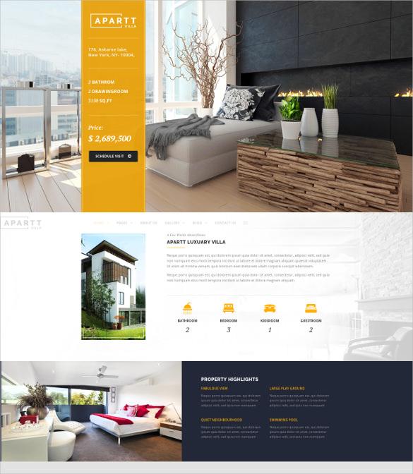 single villa property real estate wordpress theme