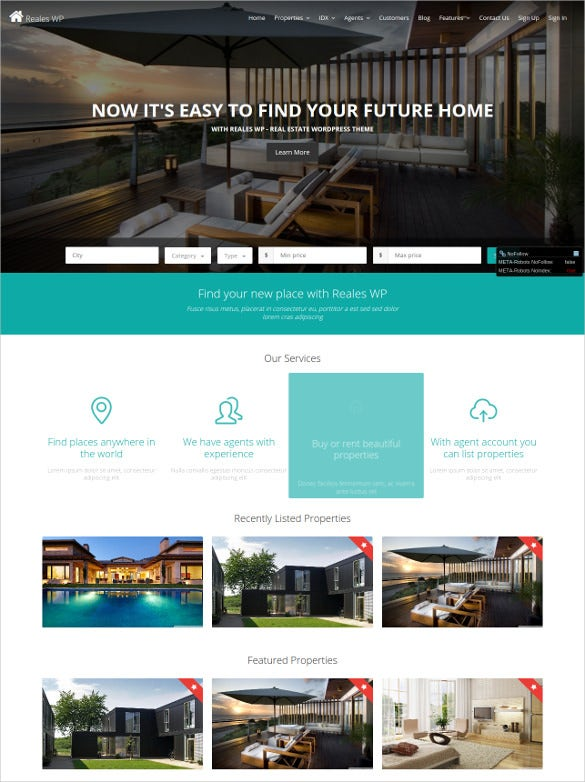 beautiful real estate wordpress theme