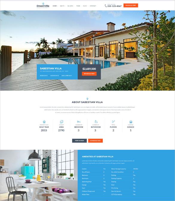 real estate villa for rent wordpress theme