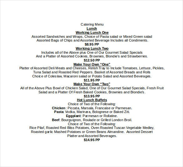 lunch catering menu doc format download